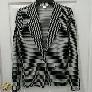 Imaginary Voyage Black and White Striped Blazer
